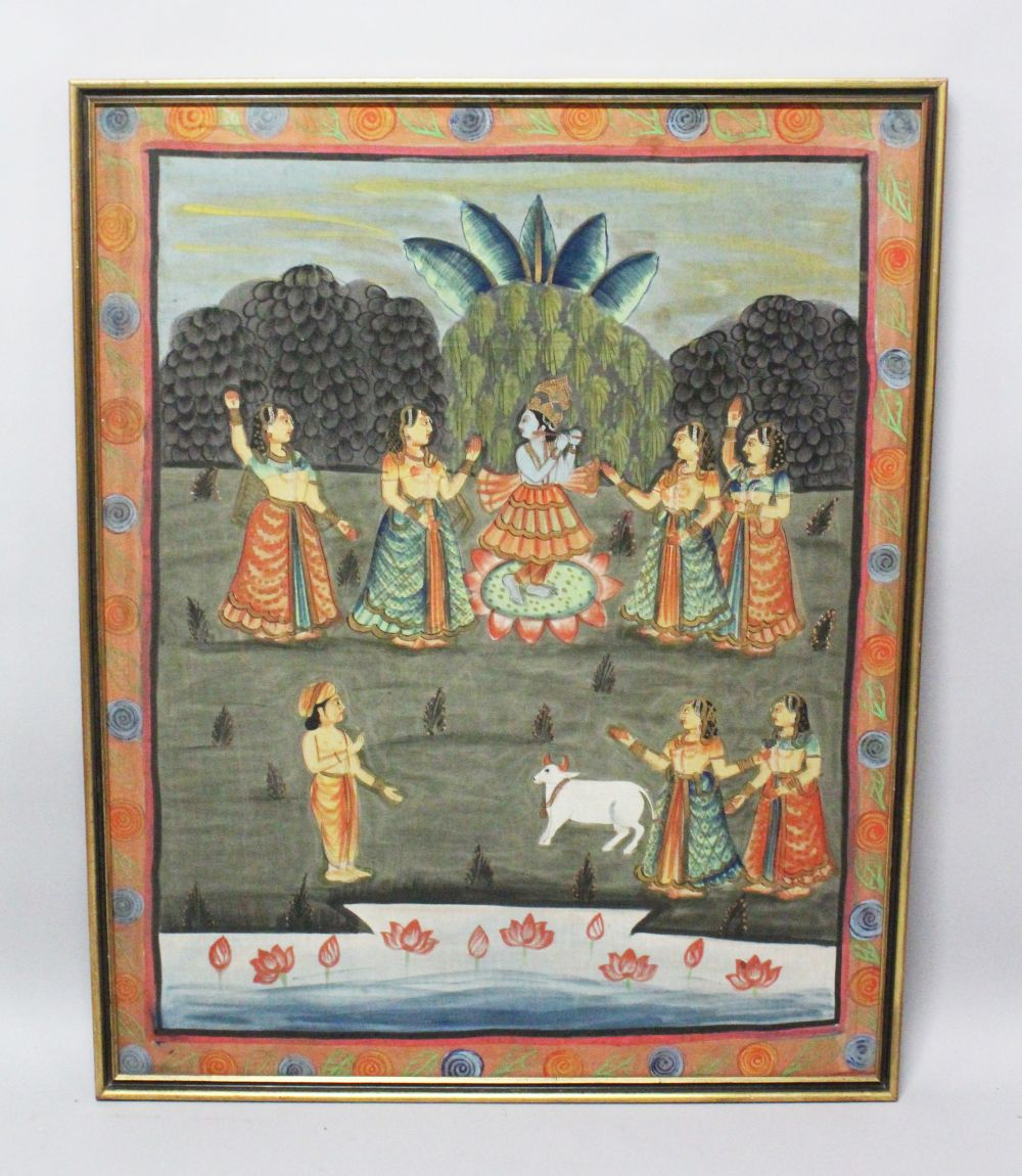 Lot 48 - A 19TH-20TH CENTURY FRAMED INDIAN PAINTING ON TEXTILE depicting a blue skin god playing an