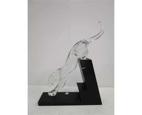 Designed by Rosetta for Baccarat - Panther The Leap, a crystal glass animal ornament on a black resin base, backstamp to unde