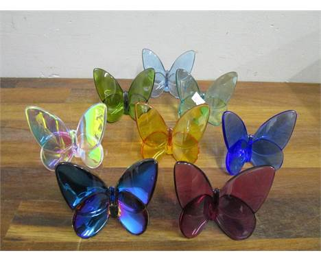 Evelyn Julienne design for Baccarat Crystal - a collection of eight Lucky Butterflies in various colours, etched factory mark