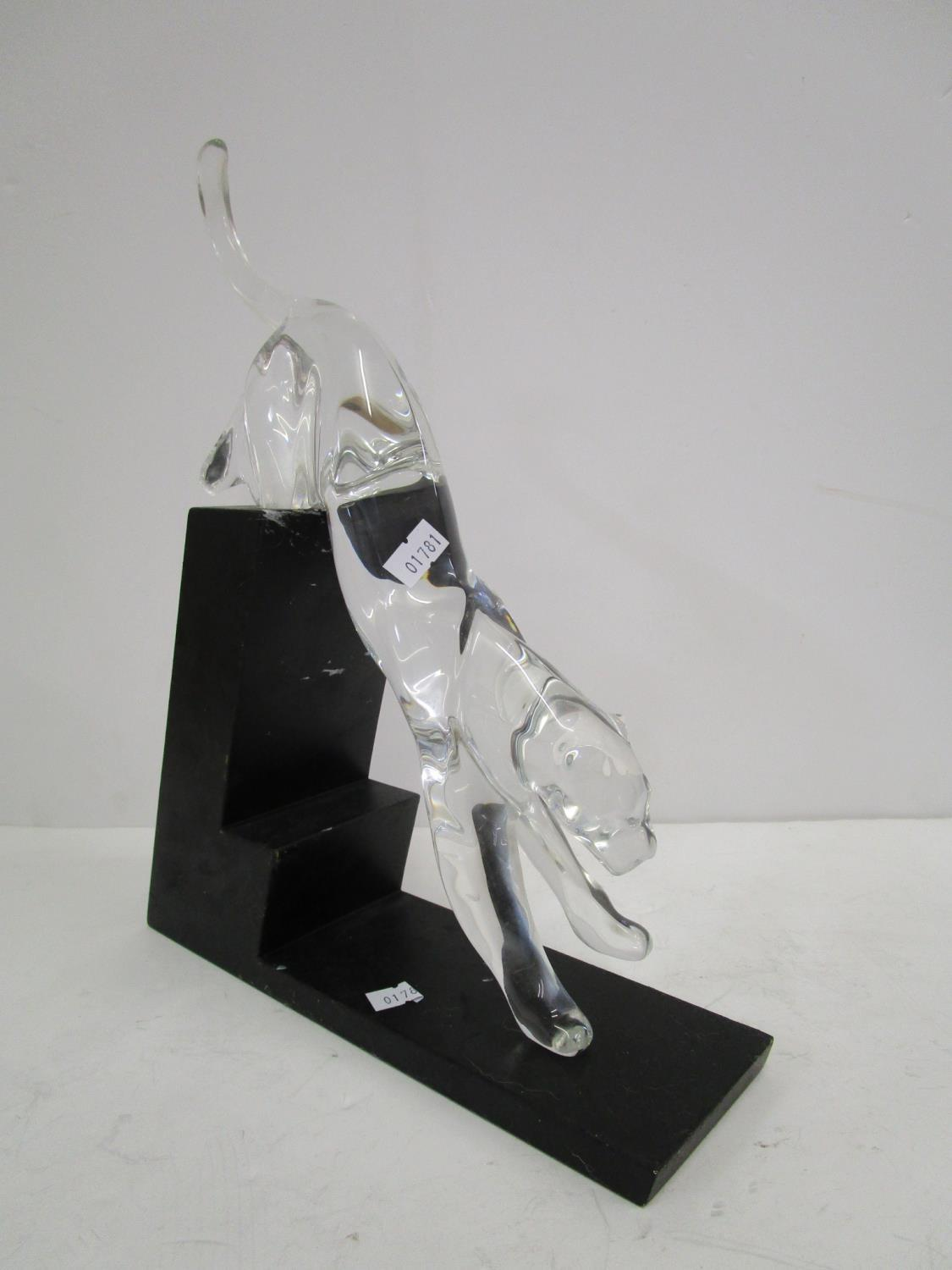 Designed by Rosetta for Baccarat - Panther The Leap, a crystal glass animal ornament on a black - Image 3 of 6