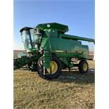 1996 John Deere 9500 Combine, Mauer Bin Extension, Vittetoe Schaff Spreader, Throat Dust Fan,