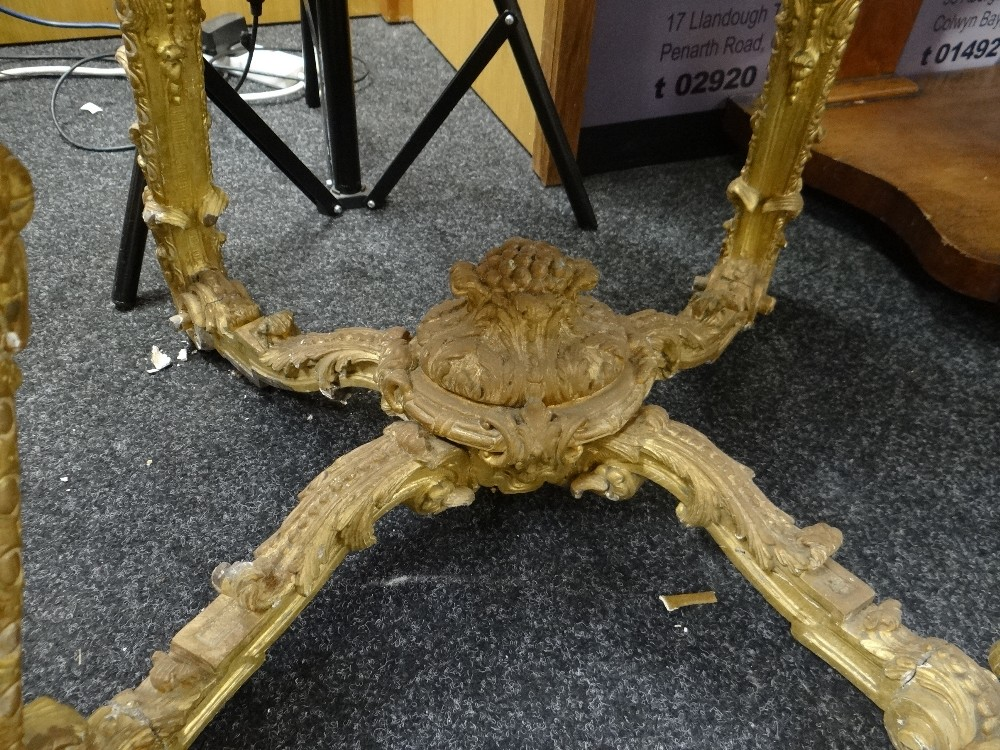 Lot 9 - GOOD 19TH CENTURY CARVED GILT WOOD OVAL TABLE BASE in ornate Rococo style with coronet stretcher and