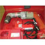 MILWAUKEE H.D. RIGHT ANGLE CORDLESS DRILL, 12V., (2) BATTERIES, CHARGER & CASE, S/N 48-06-2871