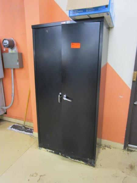 Lot 53 - Two Door Black Metal Cabinet