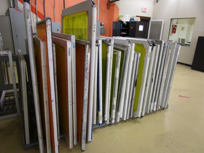 Lot 55 - (32) Self Tensioning Screens w/ Wood Rack