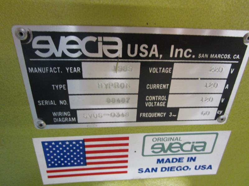 Lot 9 - UV Dryer, 2 Bulb, Original Svecia, 5' Opening, Made 1989, Type: Hypron, SN: 88487