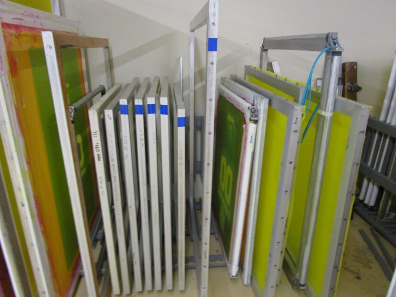 Lot 56 - (18) Self Tensioning Screens w/ Wood Rack