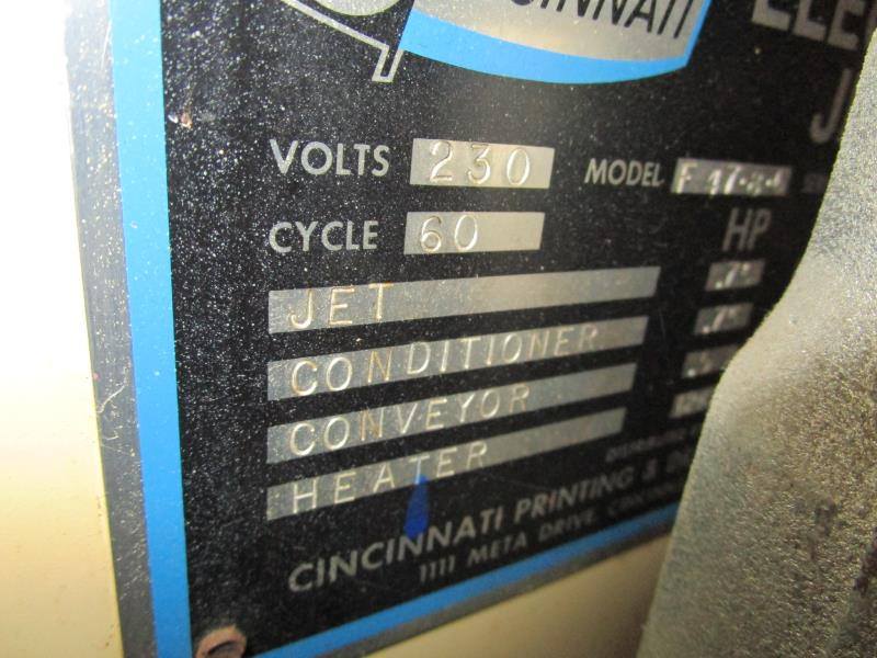"Lot 16 - Cincinnati IR Dryer, Jet Conditioner, Heater, 48"" Belt, Model: F47-8-6, SN: 7741B-10"