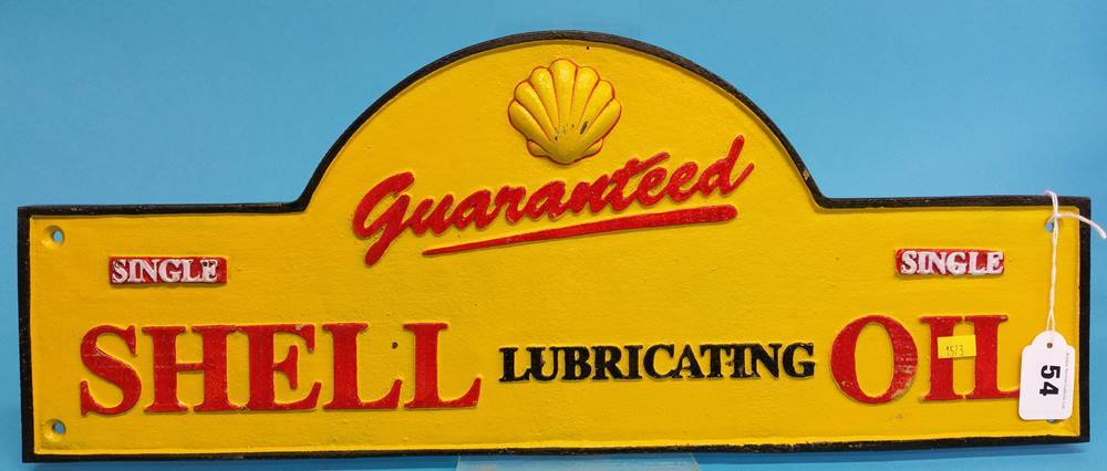 Lot 54 - A modern cast 'Shell Lubricating Oil' sign