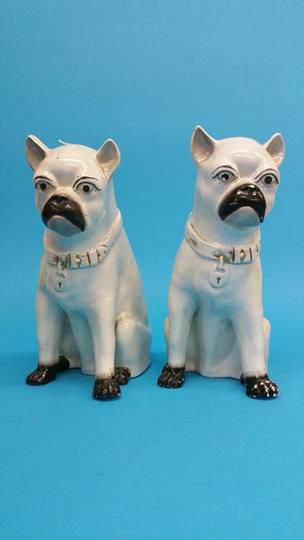 Lot 4 - Two Victorian Pug dogs with gilt collars, 30cm hei