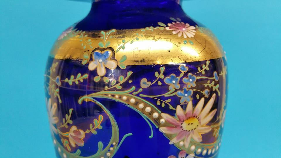 Lot 24 - A pair of Victorian blue glass and floral enamel d