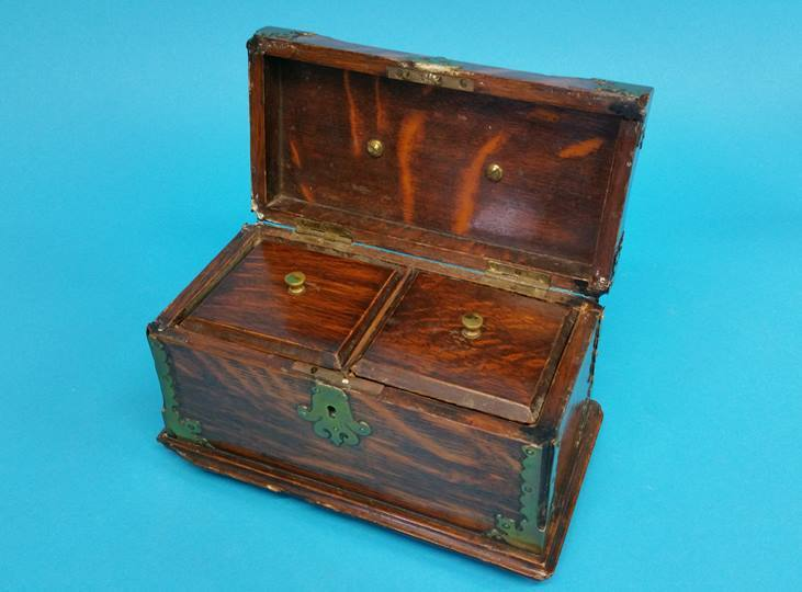 Lot 11 - An oak and brass two division tea caddy, 23cm wide