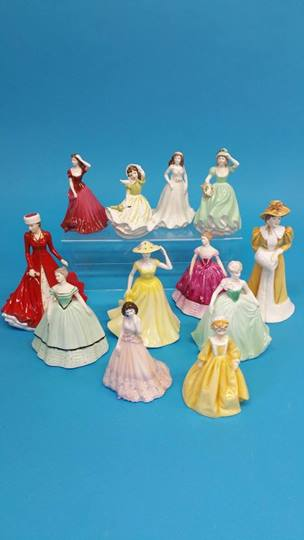 Lot 8 - Eight Coalport ladies, two Royal Doulton and two W