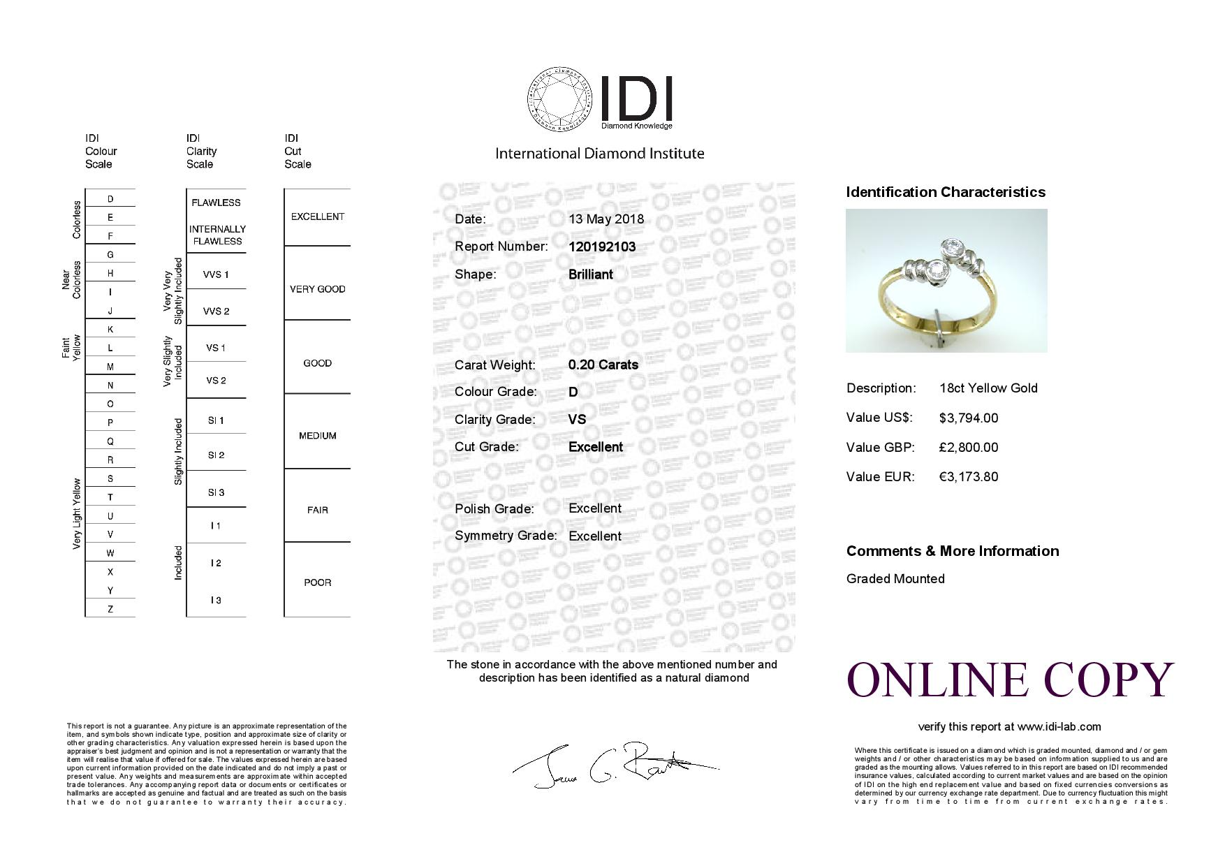 18ct Two Stone Rub Over Set Diamond Ring 0.20 Carats - Image 5 of 5