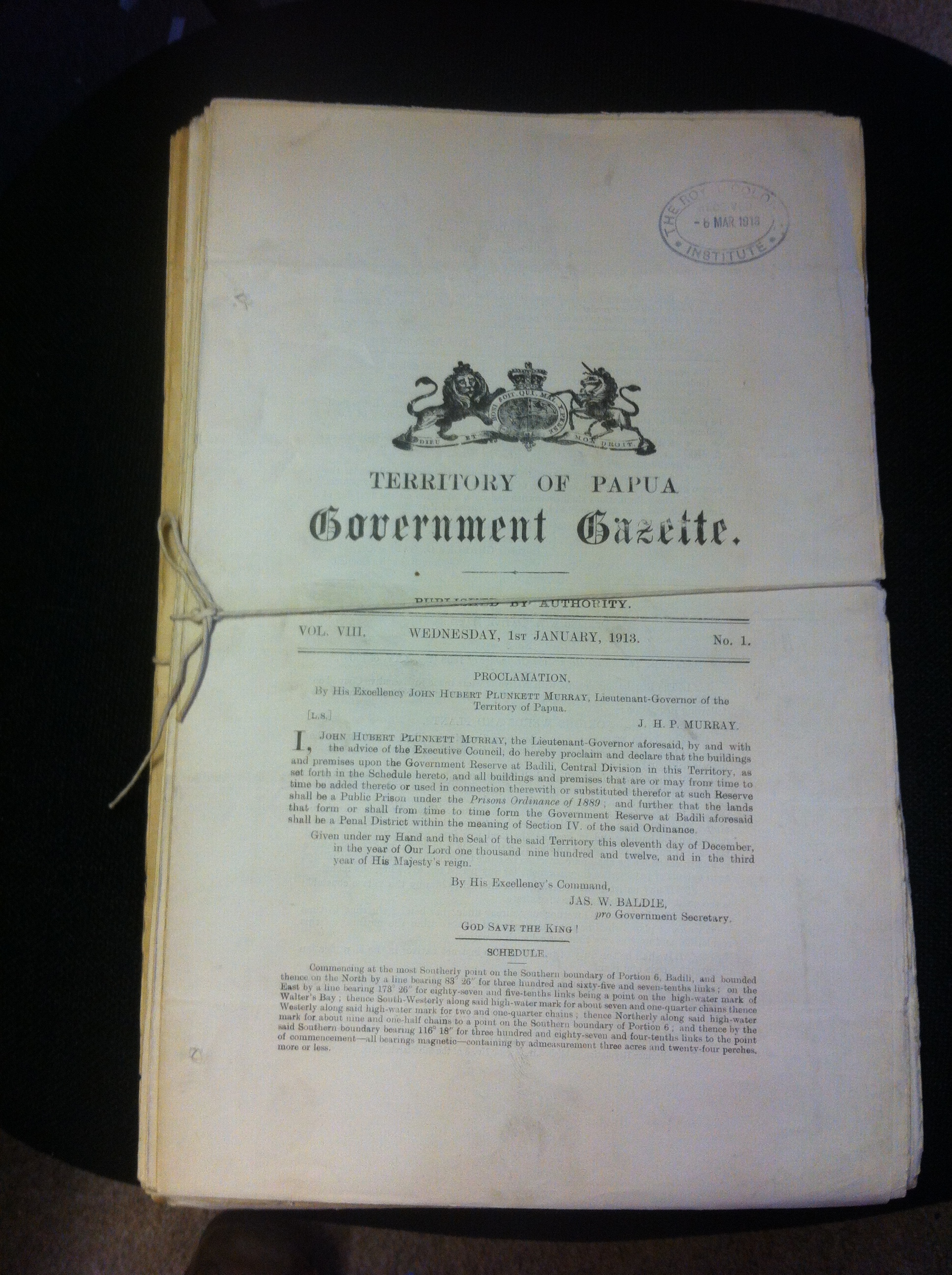 Lot 138 - 1912-1913 Territory of Papua Government Gazette, over 30 editions.