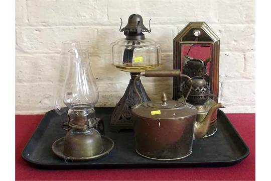Victorian Glass Cast Oil Lamp Mirrored Wall Mounted Oil