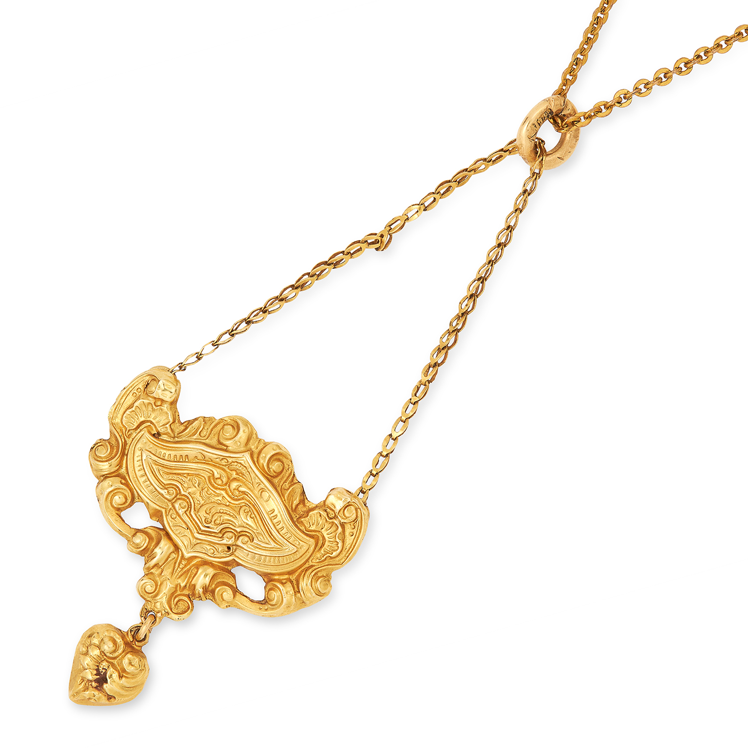 Los 235 - ANTIQUE PENDANT decorated with rococo scrolling foliate motif, 2.5g.