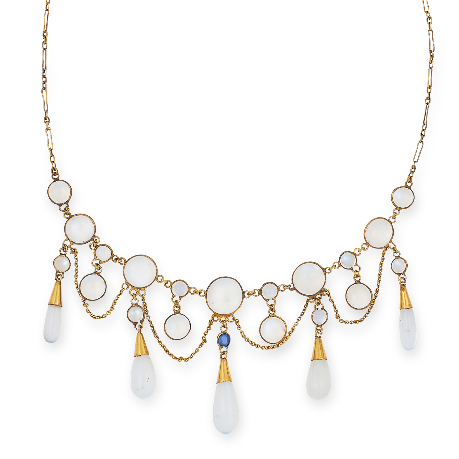 Los 34 - ANTIQUE MOONSTONE AND SAPPHIRE NECKLACE set with a round cut sapphire, cabochon moonstone and