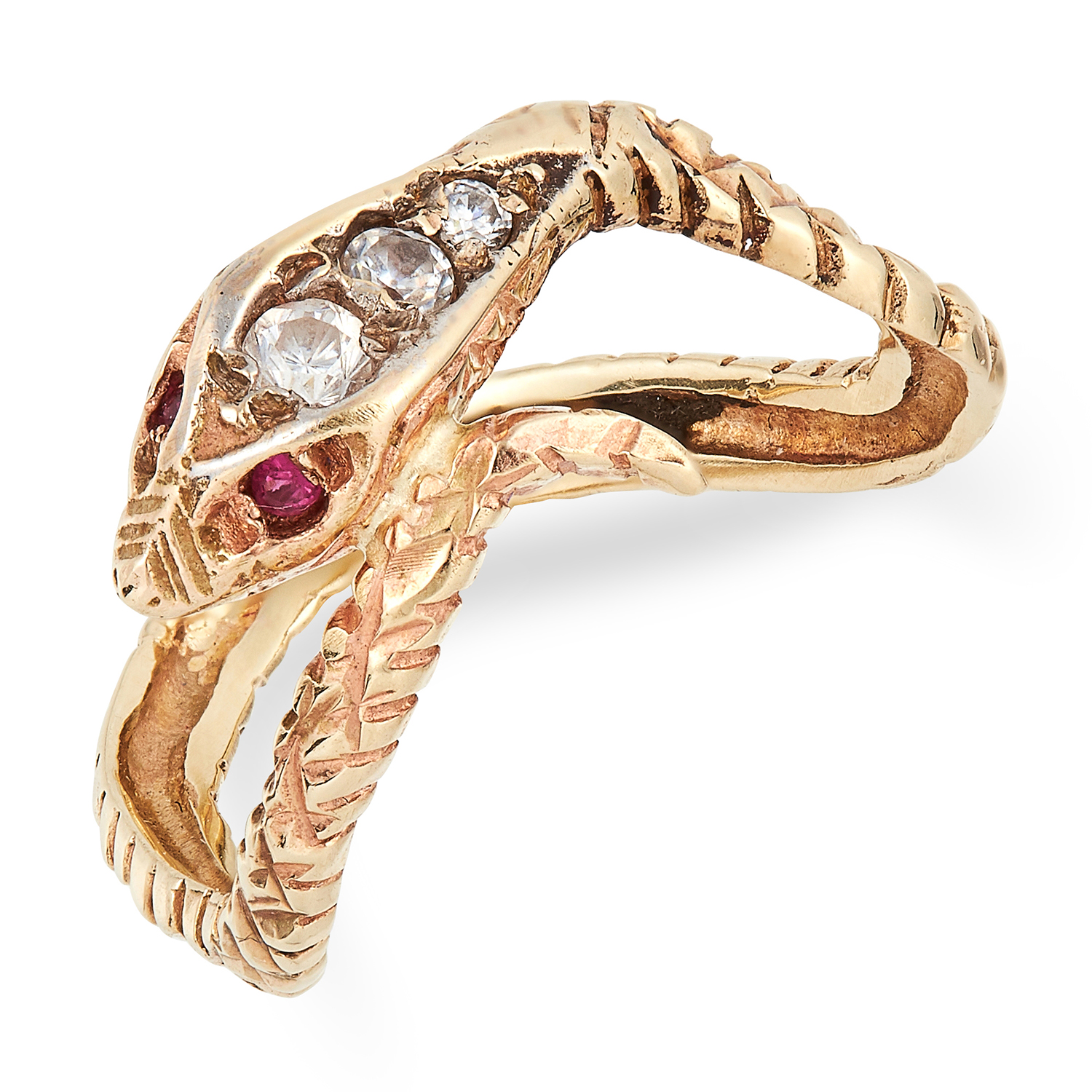 Los 18 - ANTIQUE RUBY SNAKE RING set with round cut rubies and white gemstones, size K / 5, 2.4g.