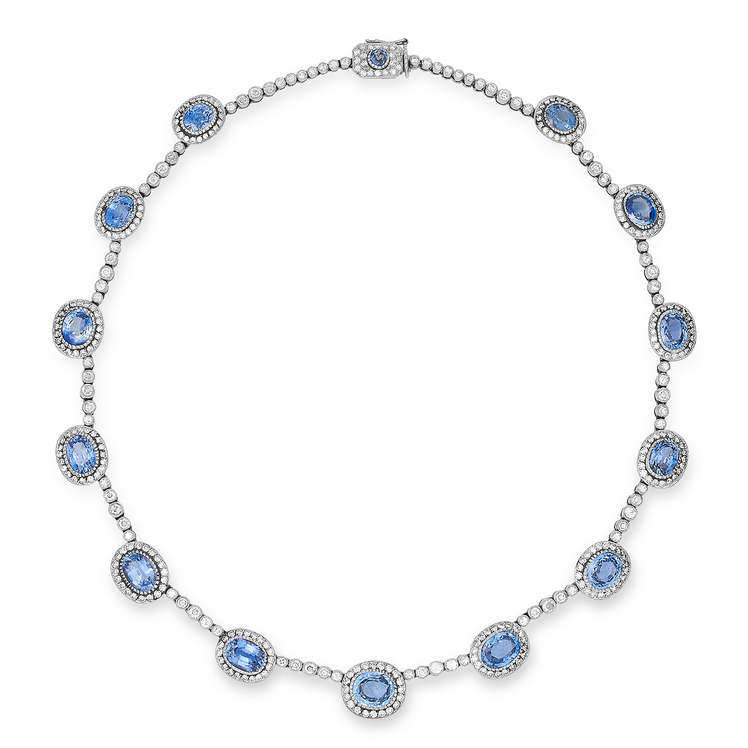 Los 52 - ANTIQUE SAPPHIRE AND DIAMOND NECKLACE, MARKED FOR FABERGE set with oval cut sapphires totalling