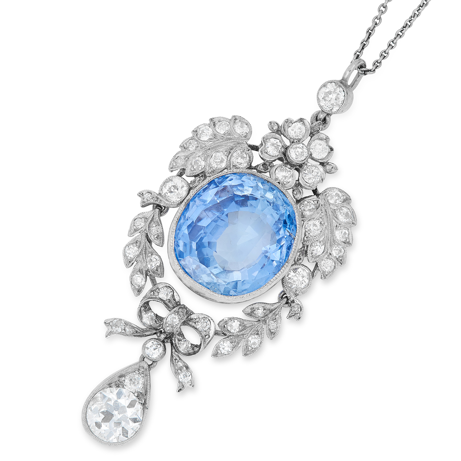 ANTIQUE CEYLON NO HEAT SAPPHIRE AND DIAMOND PENDANT, set with an oval cut sapphire of 18.58 carats