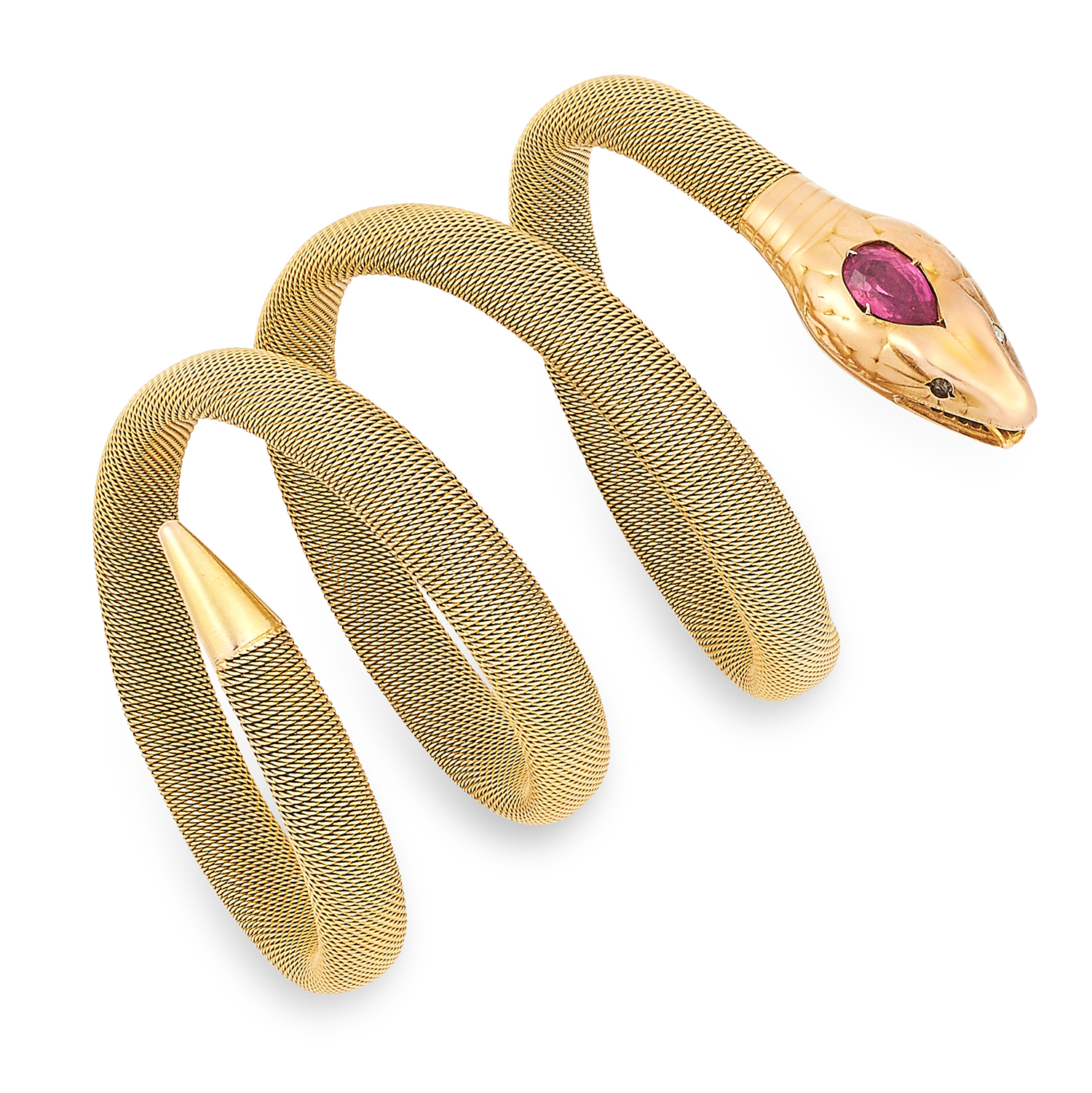 Los 9 - RUBY AND DIAMOND SNAKE BANGLE set with a pear cut ruby and rose cut diamonds, 32.7g.