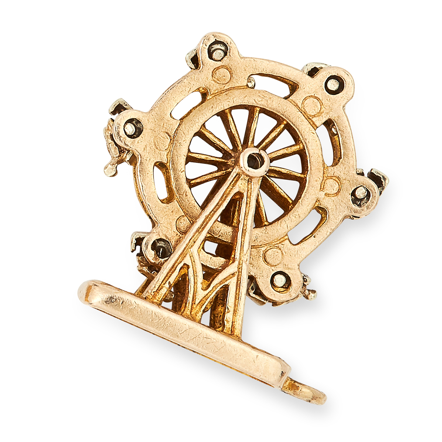 Los 39 - ARTICULATED FERRIS WHEEL CHARM / PENDANT with moving wheel and seats, 1.9cm, 4.1g.