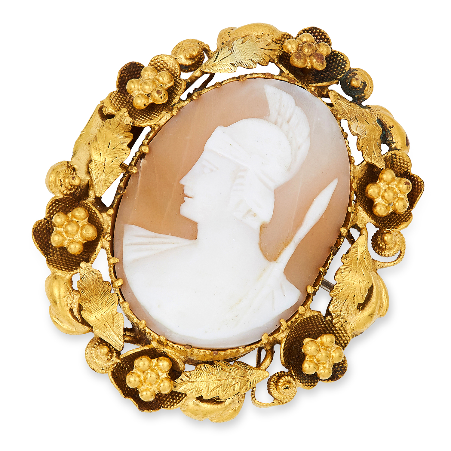 Los 30 - ANTIQUE CARVED CAMEO BROOCH depicting a Roman soldier, 4.1cm, 9.5g.