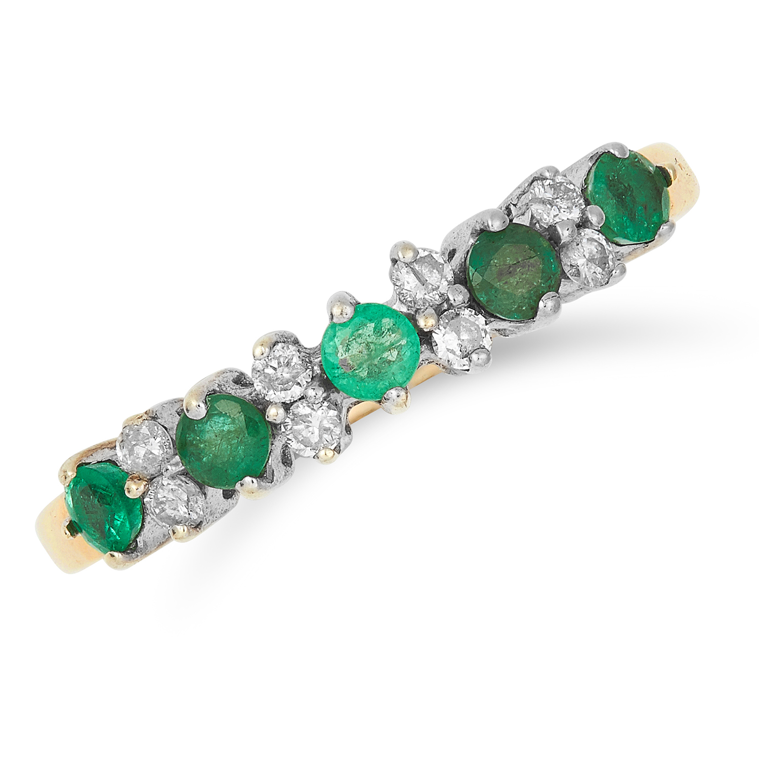 Los 37 - EMERALD AND DIAMOND RING set with alternating round cut emeralds and diamonds, size Q / 8, 2.2g.