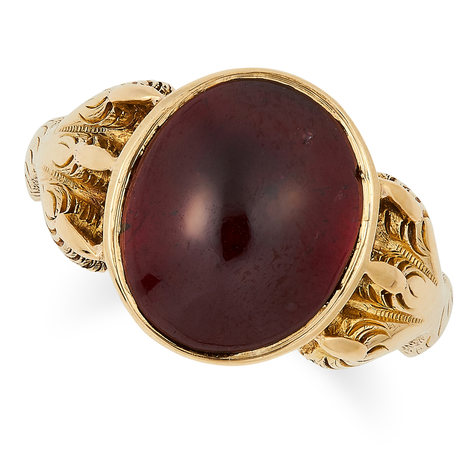 Los 26 - ANTIQUE GARNET DRESS RING set with a cabochon garnet between gold claws, size M / 6, 4.5g.