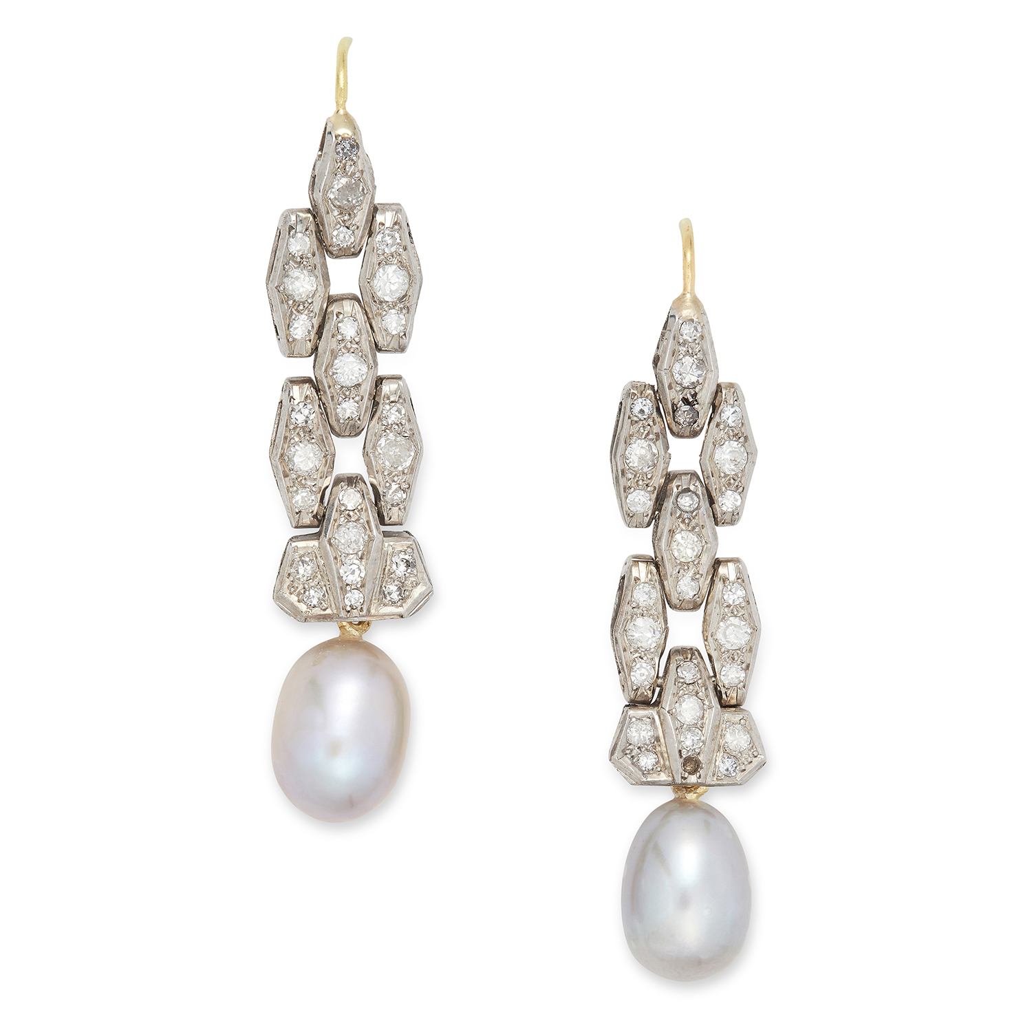 Los 3 - DIAMOND AND PEARL EARRINGS in Art Deco design, each set with round cut diamonds, suspending a pearl