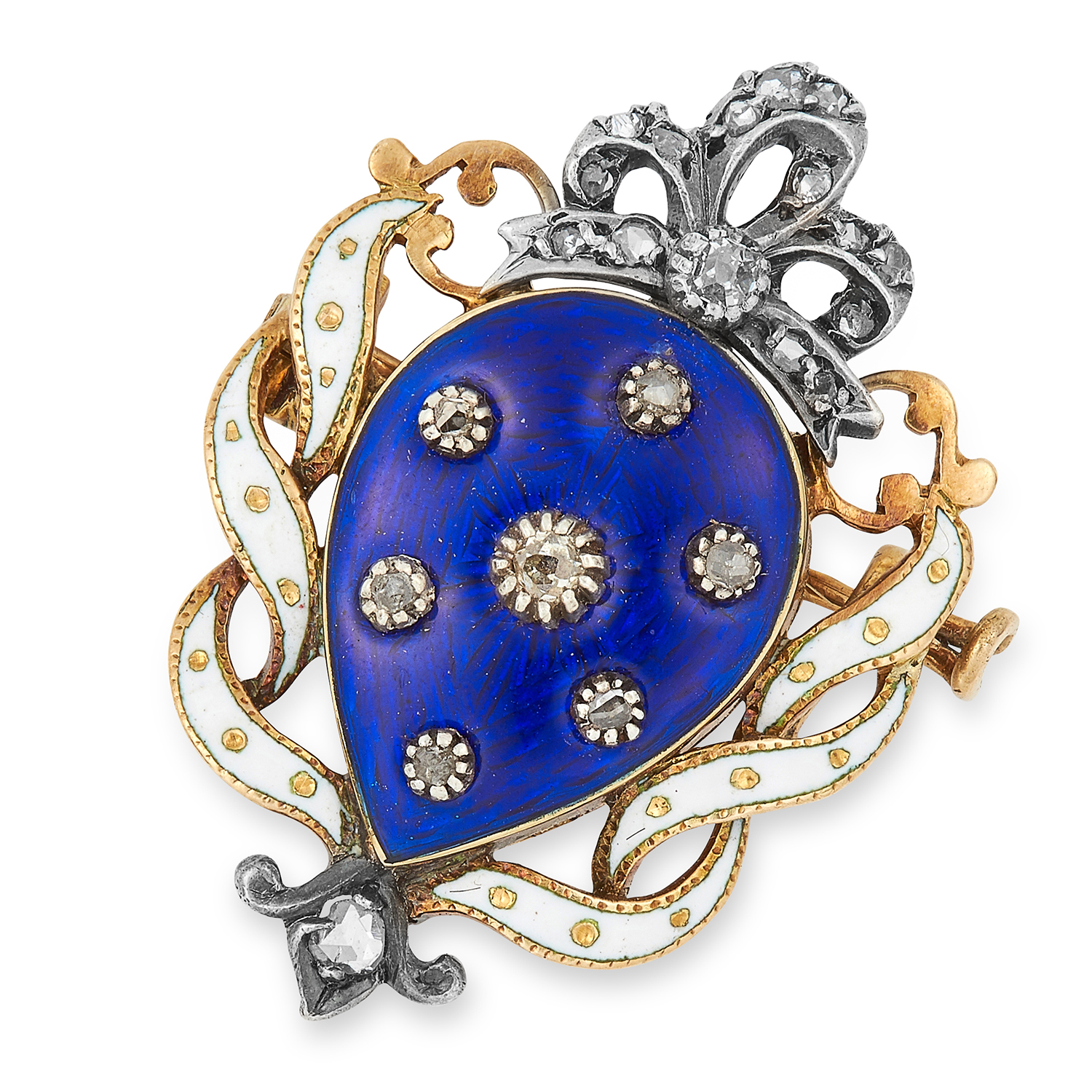 Los 5 - ANTIQUE DIAMOND AND ENAMEL BROOCH set with blue and white enamel and rose cut diamonds, 3cm, 7g.