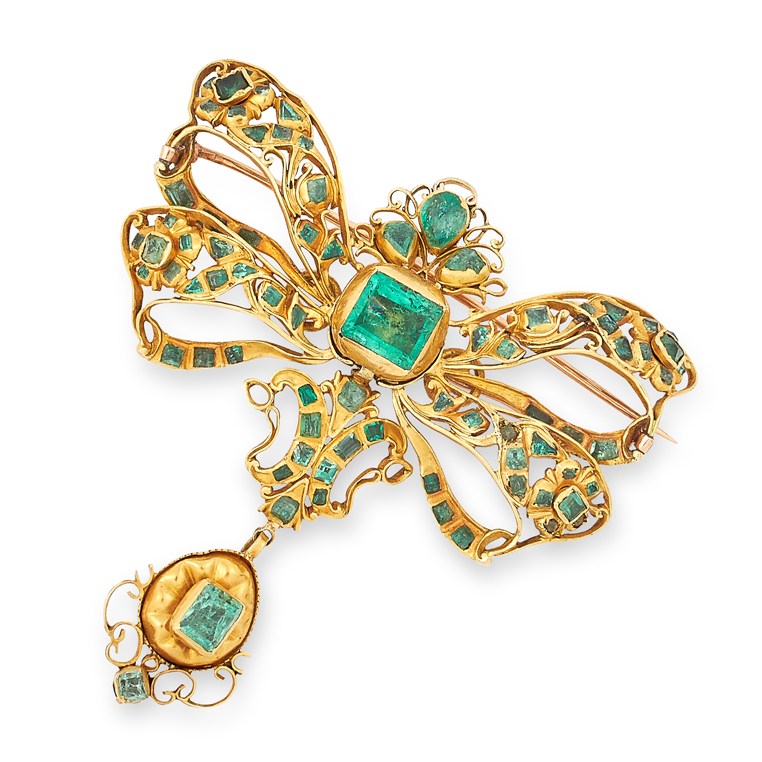 Los 13 - ANTIQUE EMERALD BOW BROOCH, SPANISH 19TH CENTURY set with pear, square and cushion cut emeralds, 6.