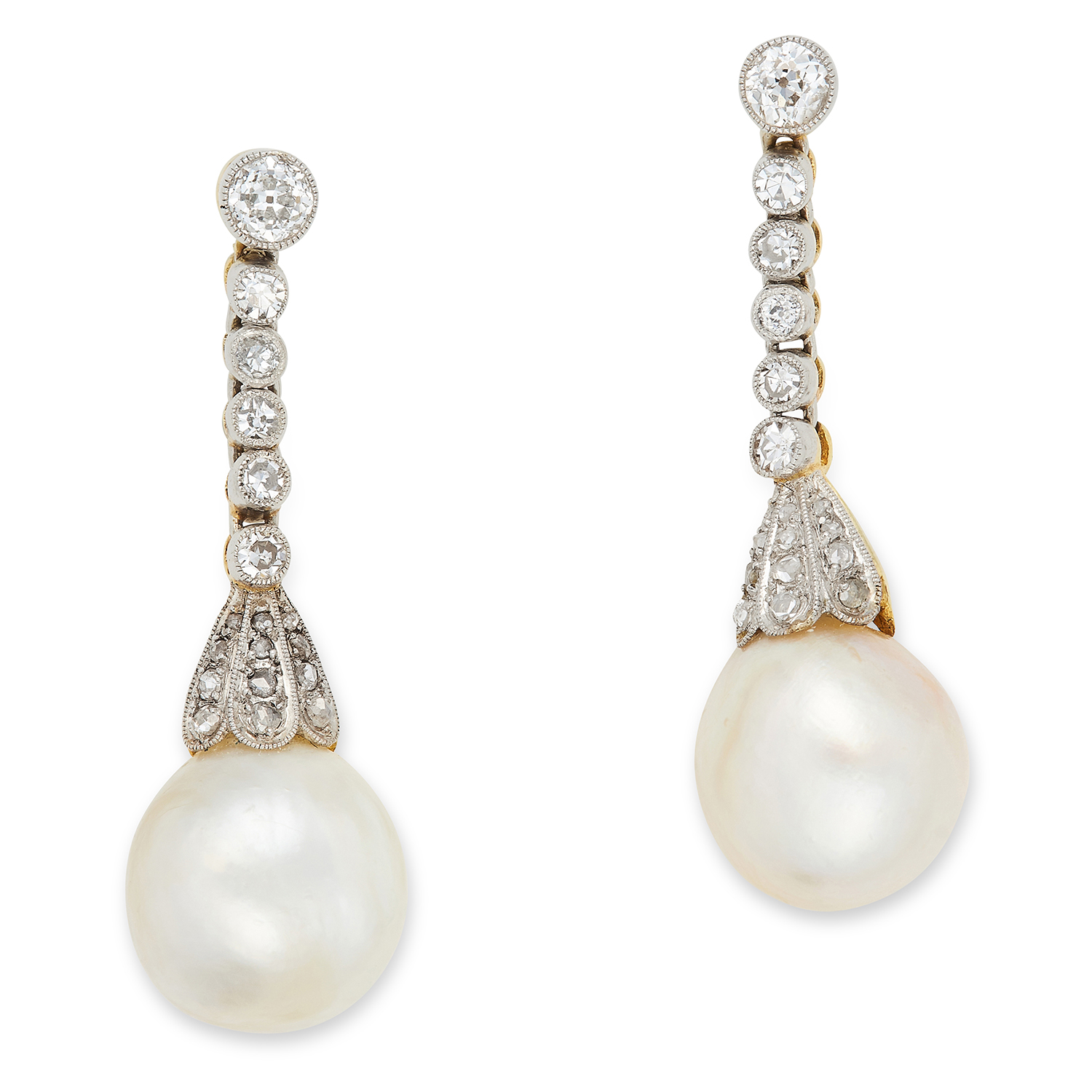 Los 48 - ANTIQUE NATURAL PEARL AND DIAMOND EARRINGS each comprising of a row of round cut diamonds and