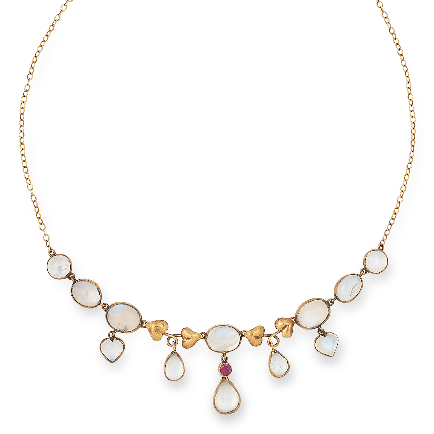 Los 11 - ANTIQUE MOONSTONE AND RUBY NECKLACE set with a round cut ruby and cabochon moonstones, 40 cm, 5.8g.