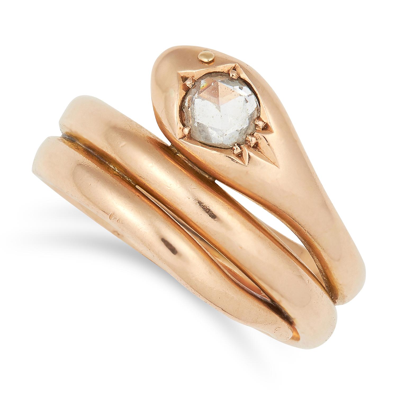Los 43 - ANTIQUE DIAMOND SNAKE RING, CIRCA 1904 set with a rose cut diamond, size P / 7.5, 8.9g.