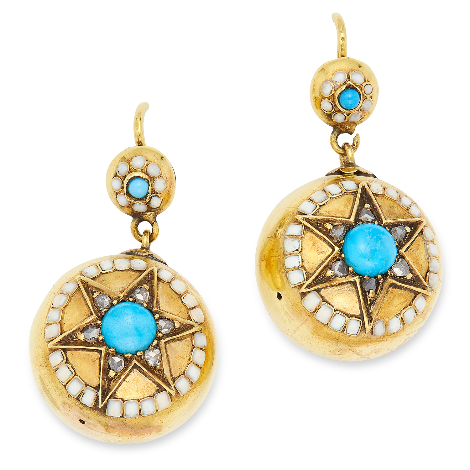 Los 7 - ANTIQUE TURQUOISE, ENAMEL AND DIAMOND EARRINGS, set with cabochon turquoise, white enamel and