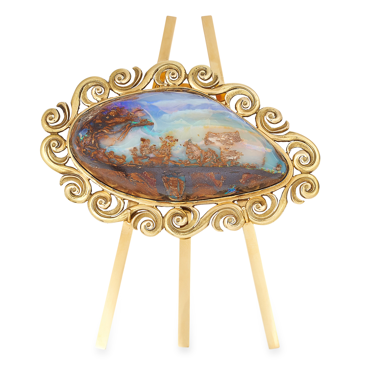 Los 311 - ORNAMENTAL BOULDER OPAL SPECIMEN MOUNTED ON A GOLD EASEL STAND, COLLINGWOOD, CIRCA 1970 resembling a