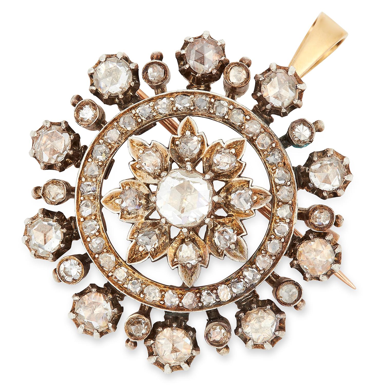 Los 33 - ANTIQUE DIAMOND PENDANT/BROOCH, set with approximately 2.50 carats of rose cut diamonds, 3.3cm, 20.