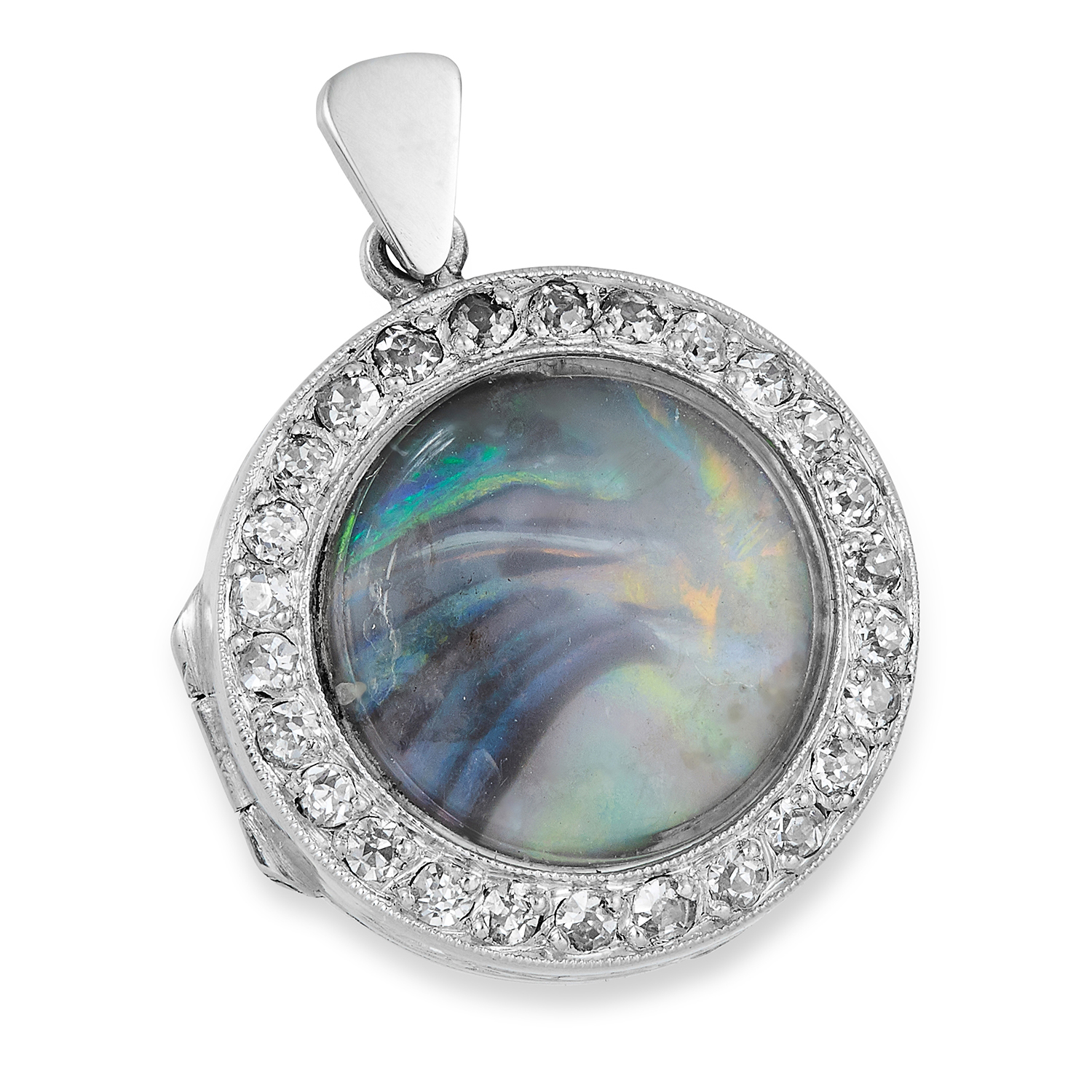 Los 21 - ART DECO OPAL AND DIAMOND PENDANT, set with an opal in a border of round cut