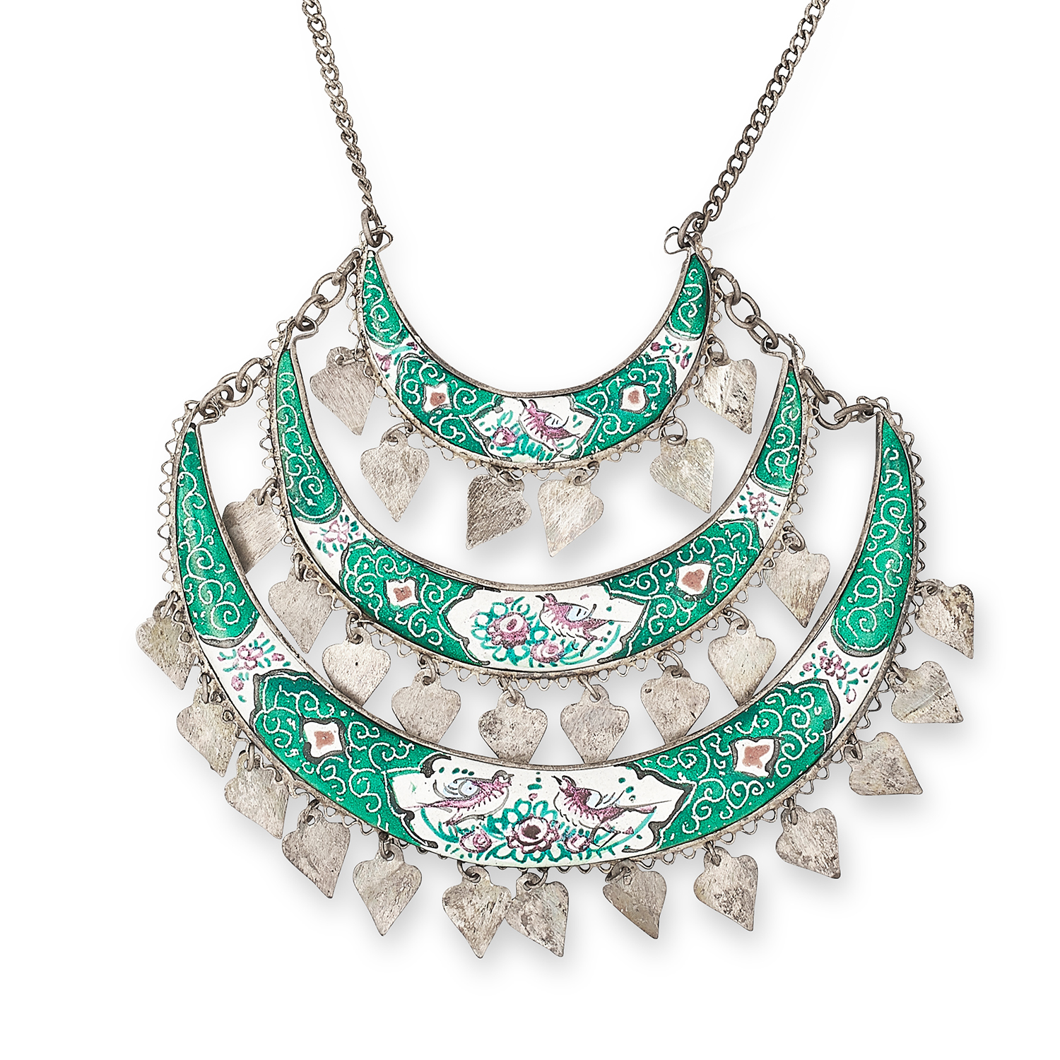 Los 280 - ENAMEL SWAG NECKLACE set with varicoloured enamel depicting scenes with birds and flowers and