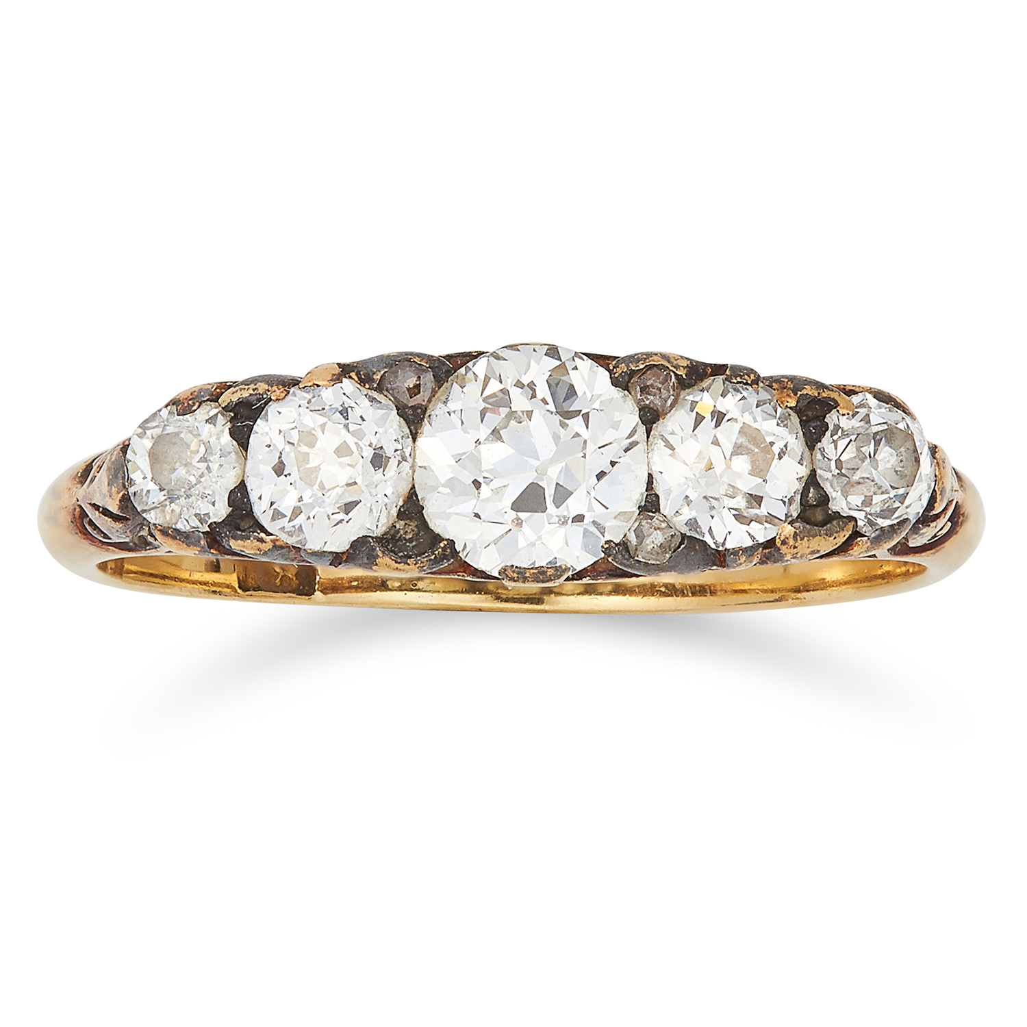 Los 31 - DIAMOND FIVE STONE RING set with round cut diamonds totalling approximately 0.75 carats, size M / 6,