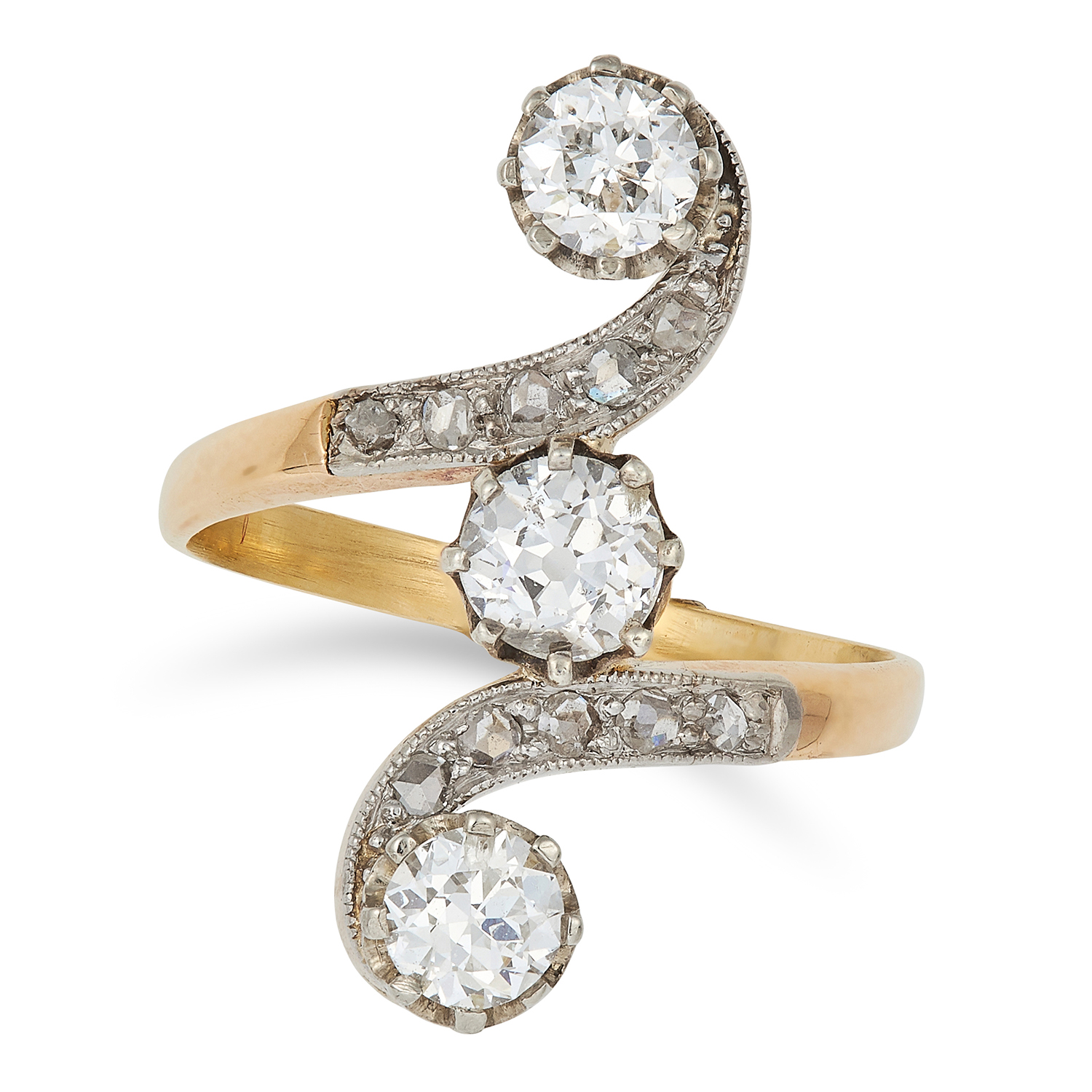 Los 4 - ANTIQUE DIAMOND DRESS RING set with round and rose cut diamonds in twisted design, size J / 4.5,
