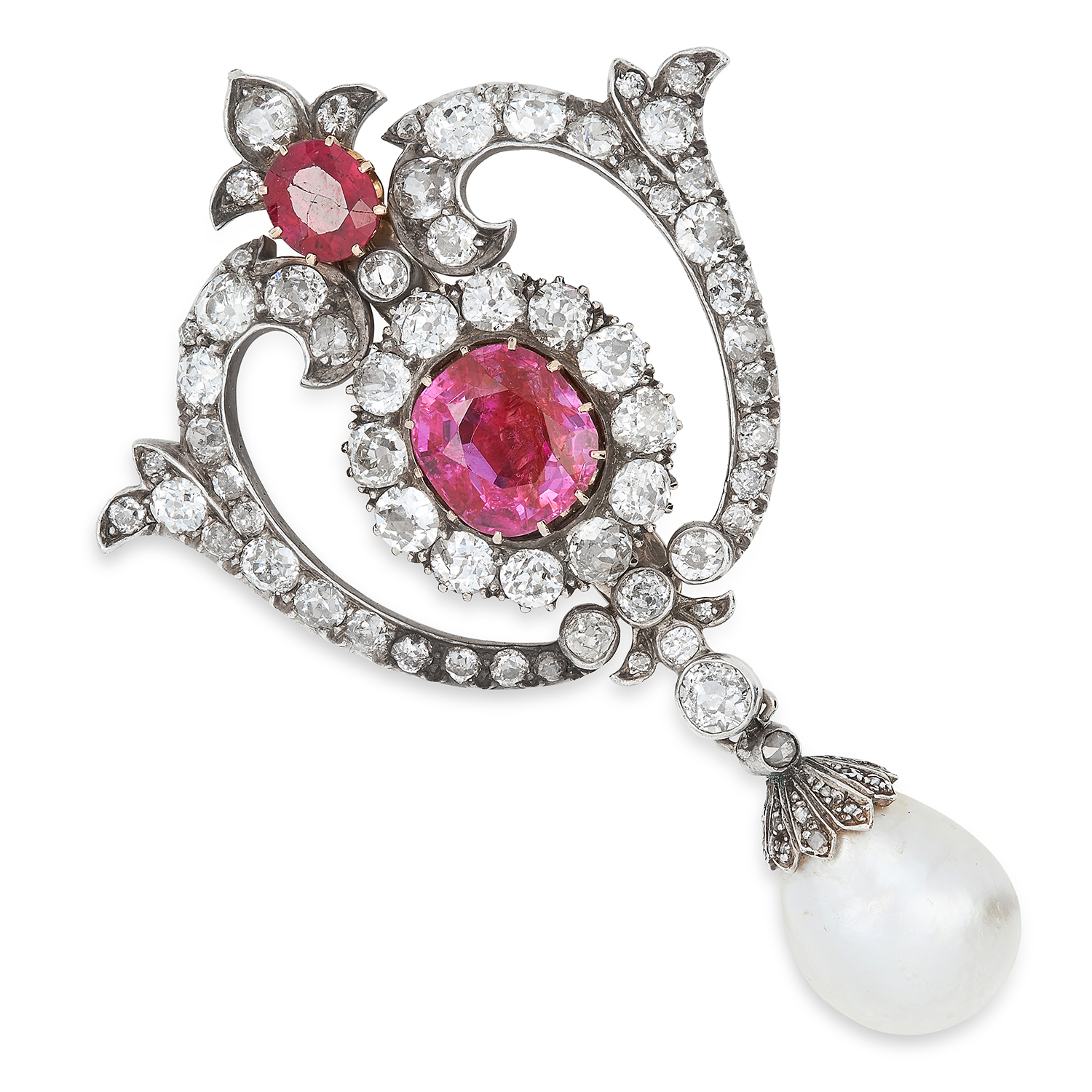 Los 46 - ANTIQUE BURMA NO HEAT RUBY, DIAMOND AND NATURAL PEARL BROOCH set with a principal val cut ruby of