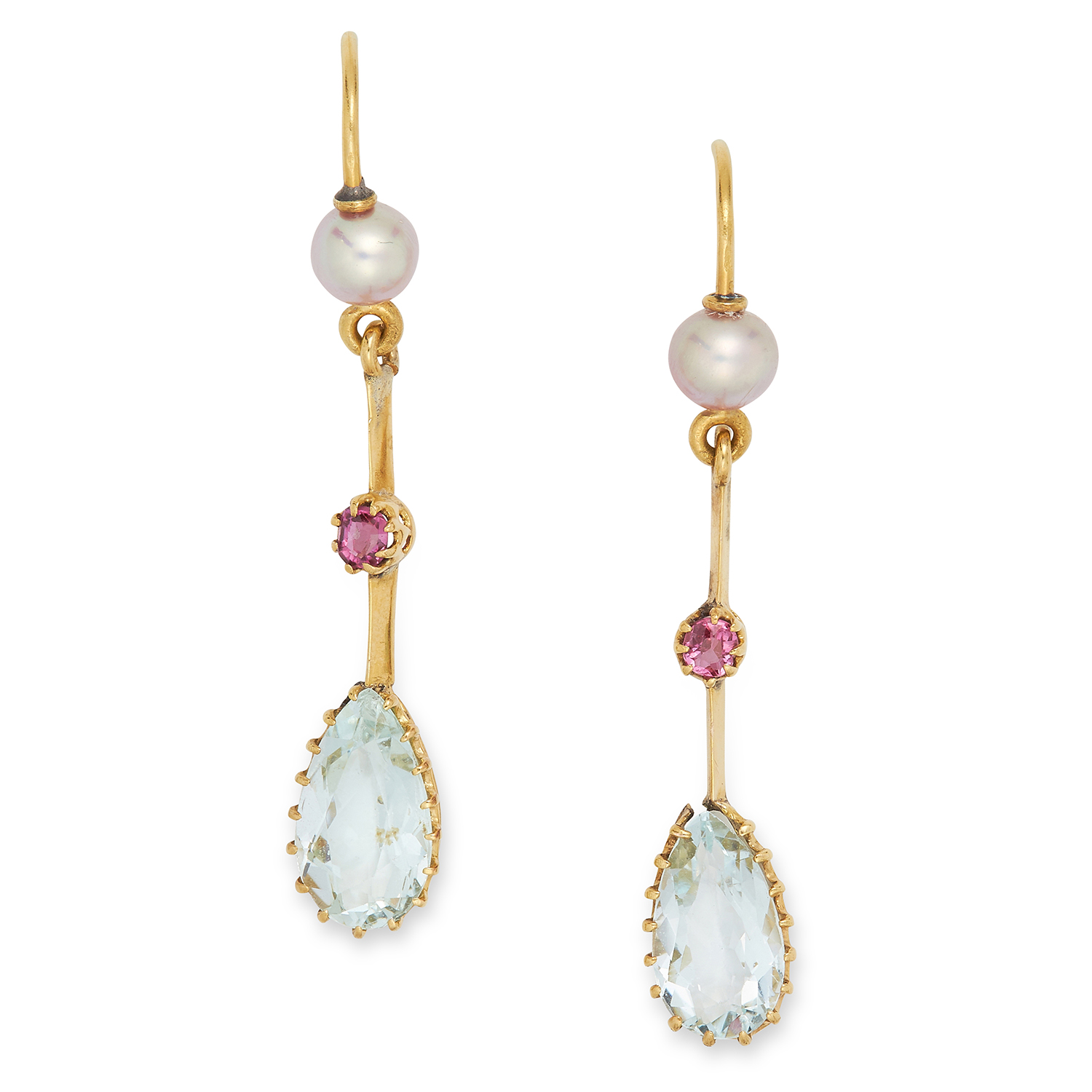 Los 17 - ANTIQUE AQUAMARINE, RUBY AND PEARL EARRINGS each comprising of a pearl, round cut ruby and a pear