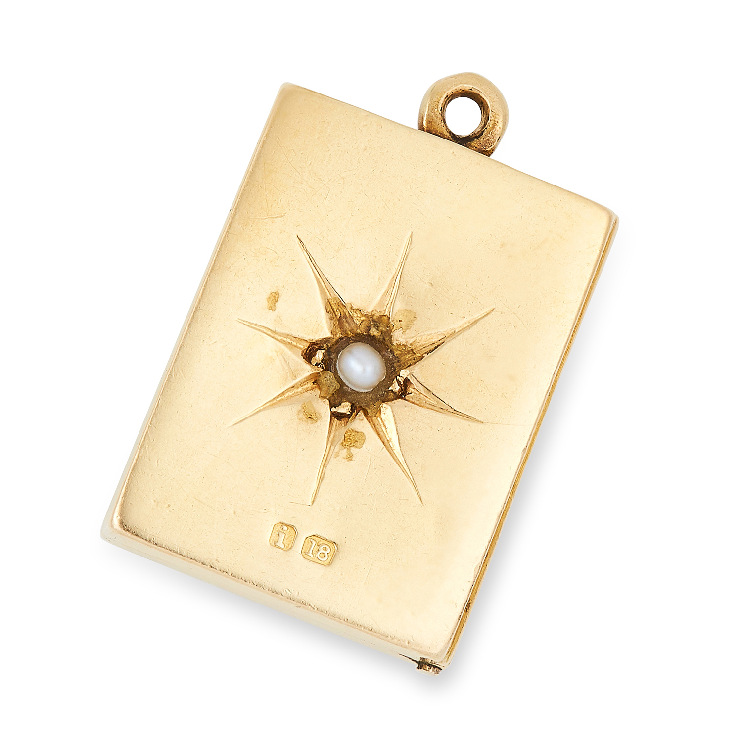 Los 20 - ANTIQUE SEED PEARL BOOK CHARM / PENDANT designed as an opening book, set with a seed pearl in star