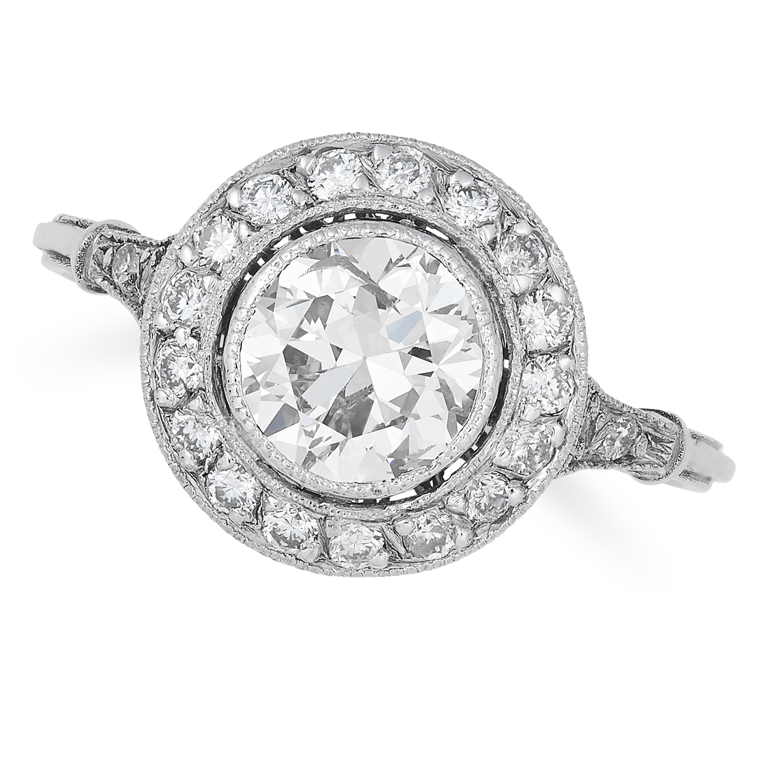 Los 47 - ANTIQUE DIAMOND DRESS RING set with a cluster of round cut diamonds totalling approximately 2.92