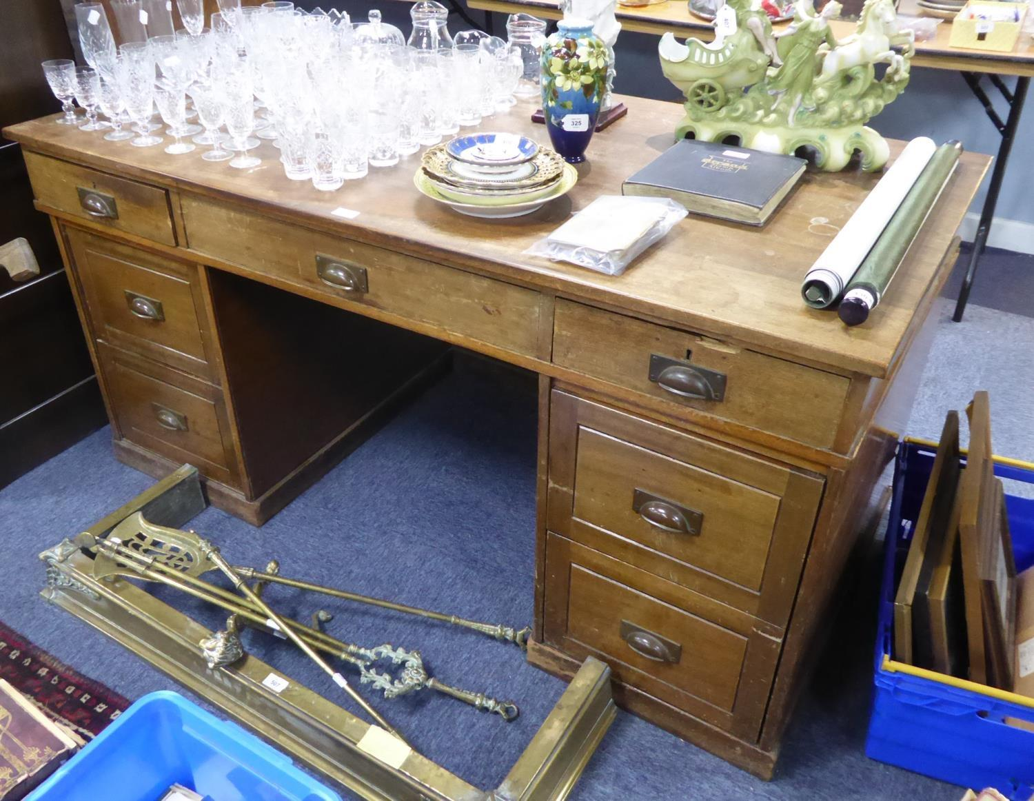 POST WAR MAHOGANY TWIN PEDESTAL DESK, the oblong top above three frieze drawers and pair of