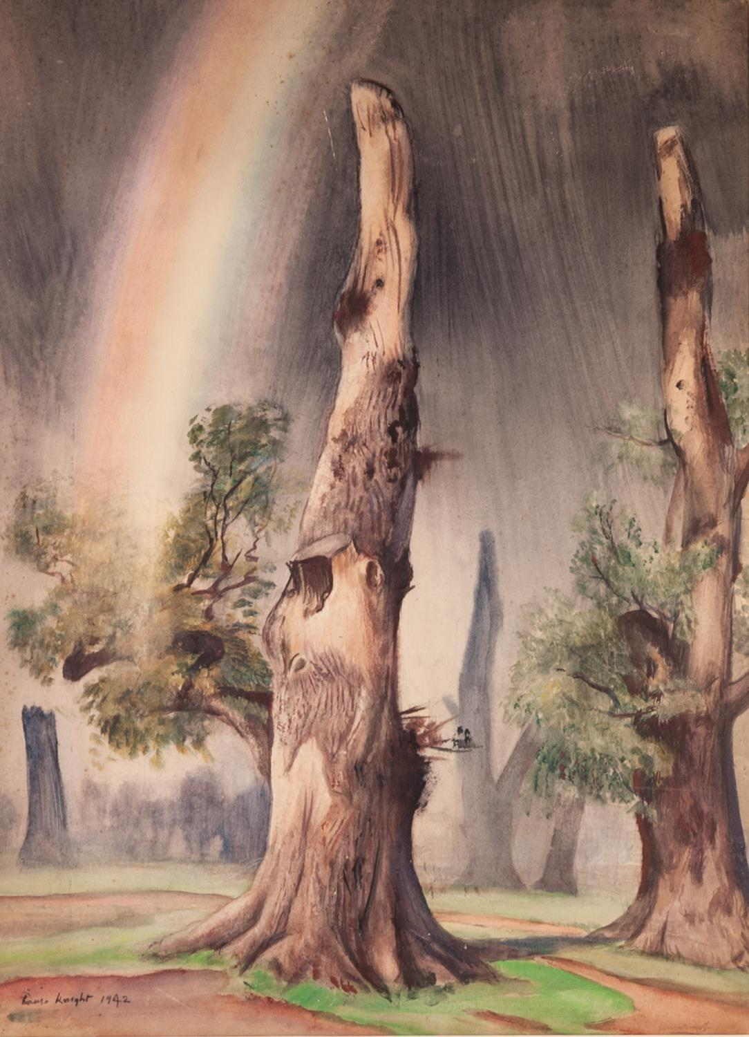 """(DAME) LAURA KNIGHT (1877-1970) WATERCOLOUR DRAWING dead trees and rainbow signed and dated 1942 30"""""""