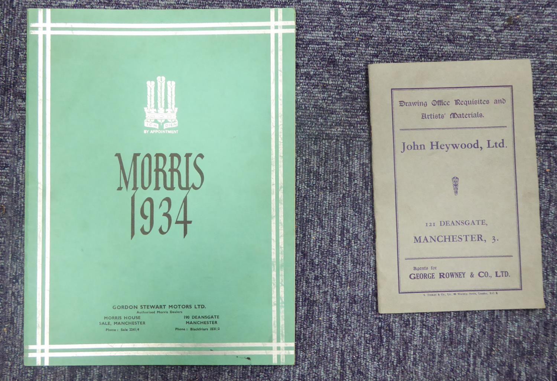 Lot 141 - JOHN HEYWOOD LTD, JOHN ROWNEY ARTIST MATERIALS TRADE CATALOGUE 1934. MORRIS MOTORS 1934 SALES